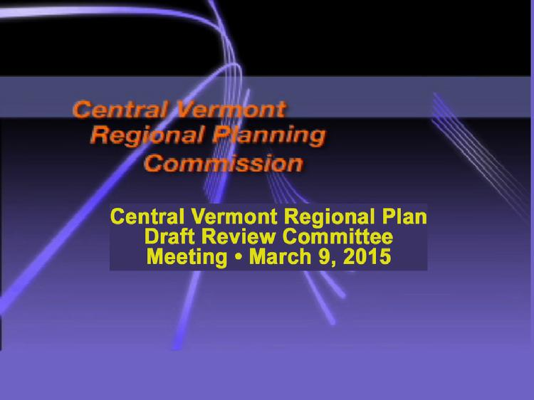 CVRPC Central VT Regional Plan Draft Review Committee Meeting March 9, 2015  The Central Vermont Regional Planning Commission meeting of the Central VT Regional Plan Draft Review Committee discussing the Future Land Use map. Peter Gregory, Executive Director of the Two Rivers-Ottauquechee Regional Commission related their experience with the process they used for their regional plan. Also discussed by the participants were concerns about the details of the land use map and impacts on future development. Meeting held at the Capstone Community Action building in Barre, VT on March 9, 2015. View at: https://vimeopro.com/vtvt/cvrpc/video/121770675