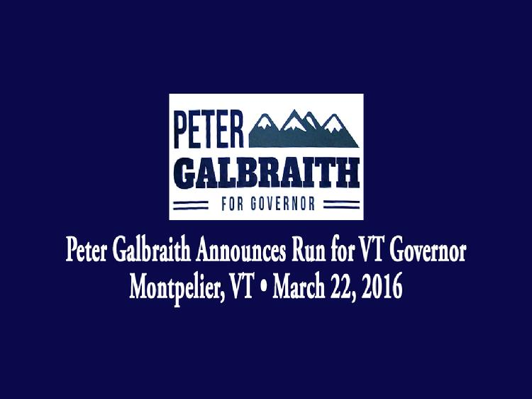 Peter Galbraith Announces Run for VT Governor